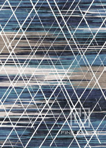 Blue beige and white check rug Design 139