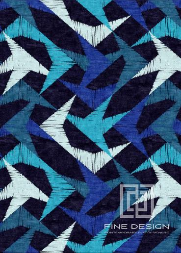 Blue ethnic star rug Design 145