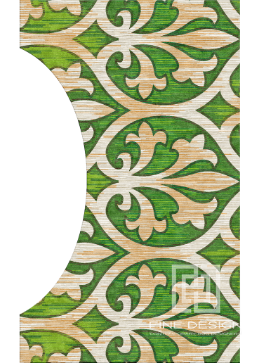 Green shaped modern rug Design 97