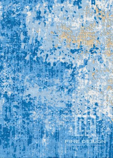 Grunge blue and gold rug Design 125