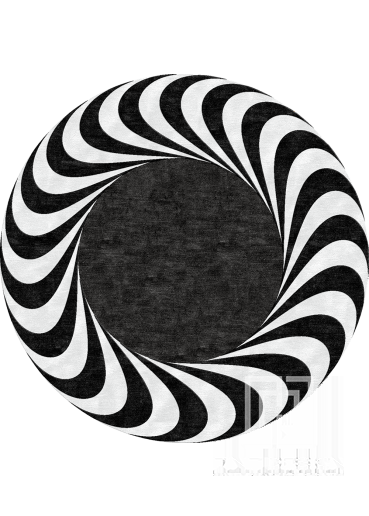 Round black and white rug Design 106