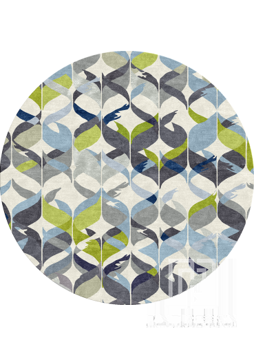 Round blue forest rug Design 120